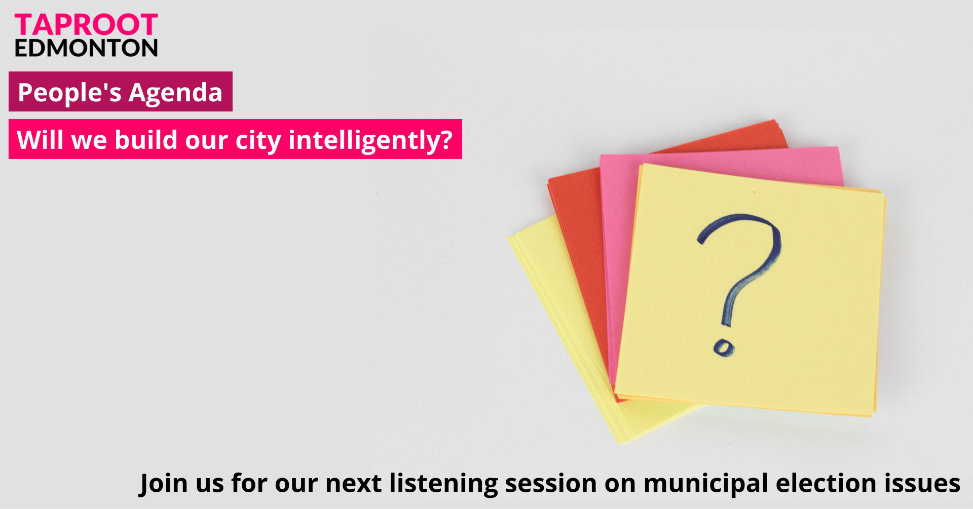 Promotional image for People's Agenda listening session on city-building