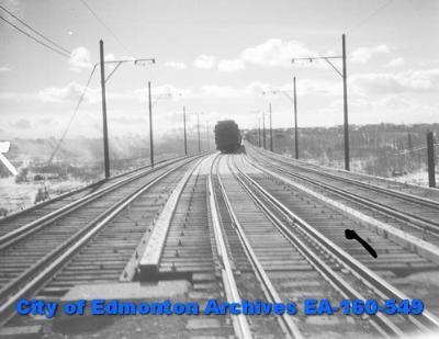 """""""Train On High Level Bridge"""" by H.A. Hollingworth, 1932. Photo courtesy of the City of Edmonton Archives."""