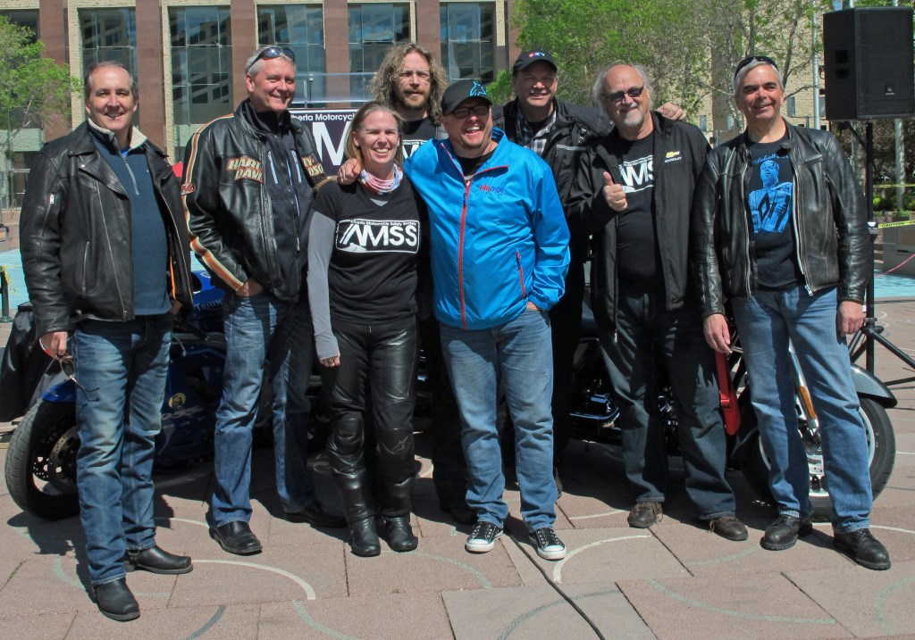 The 2016 launch of the Alberta Motorcycle Safety Society at City Hall, featuring members of Edmonton's media. Photo by Ronnie B.