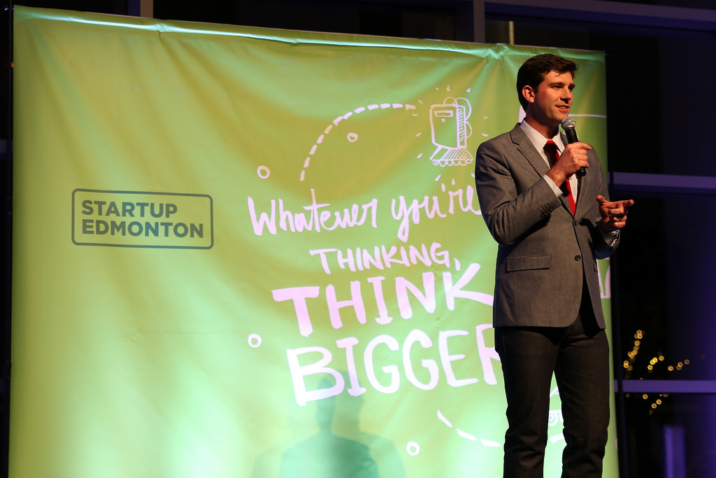 Mayor Don Iveson at Edmonton Launch Party 5 in October 2014