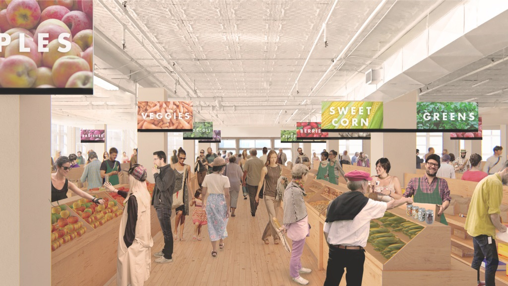 A rendering of a farmers' market inside the GWG Building provided by the Edmonton Downtown Farmers' Market Association.