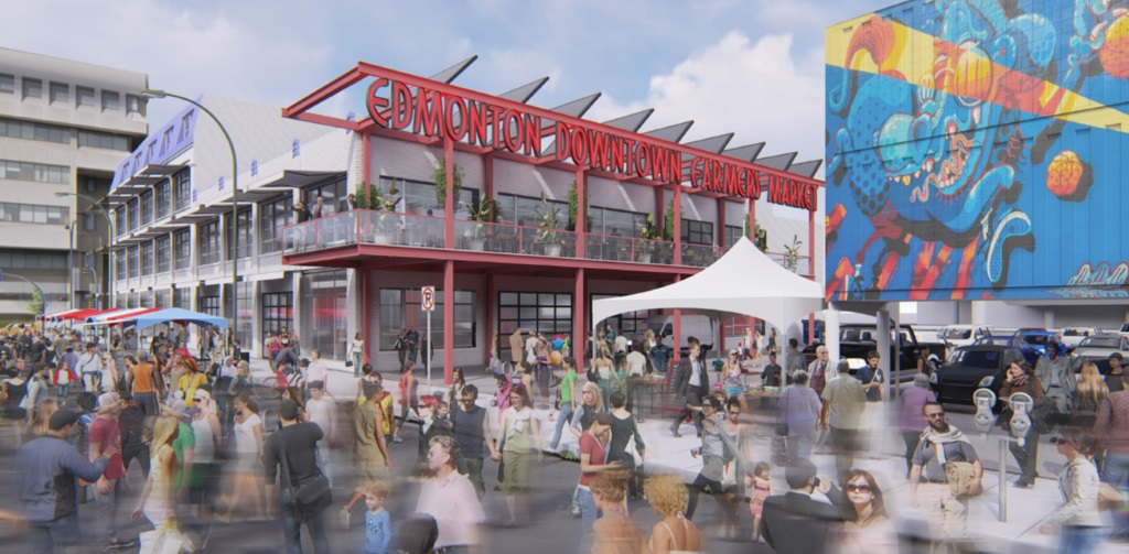A rendering of what a market based at the GWG Building might look like, provided by the Edmonton Downtown Farmers' Market Association.