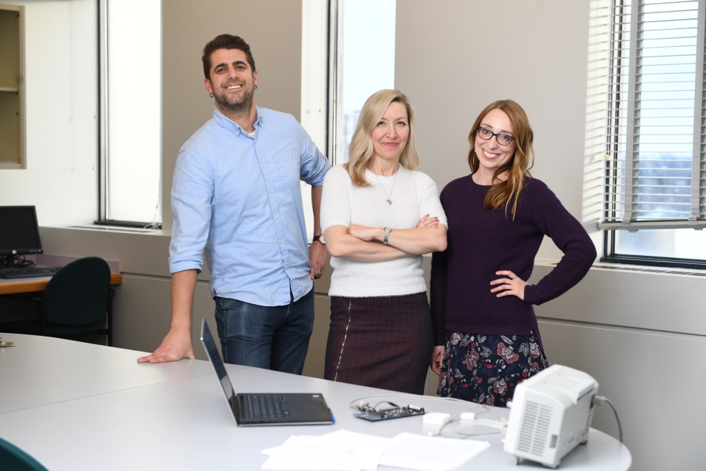 True Angle Medical's Dylan Scott (CTO), Jana Rieger (CEO), and Gabi Constantinescu (CPO). Supplied.