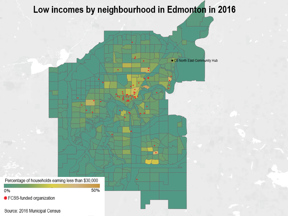 Map showing income by neighbourhood in Edmonton