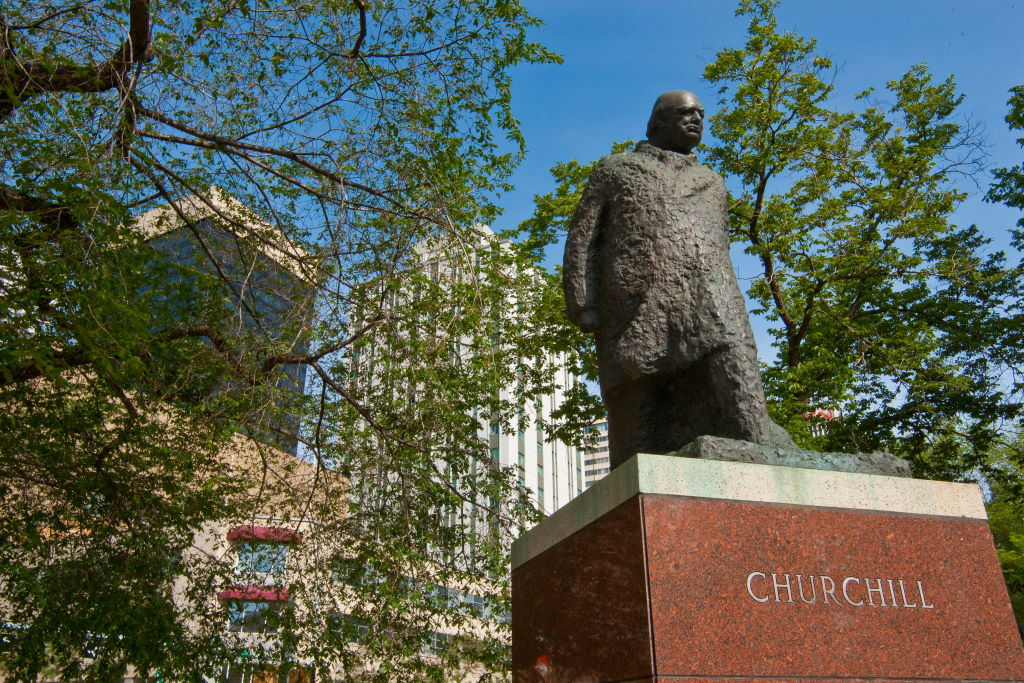 Statues of Winston Churchill, such as the one in downtown Edmonton, have also sparked discussion about whether they should remain. (Courtesy of the City of Edmonton)
