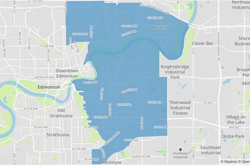 A map of Edmonton's Métis ward