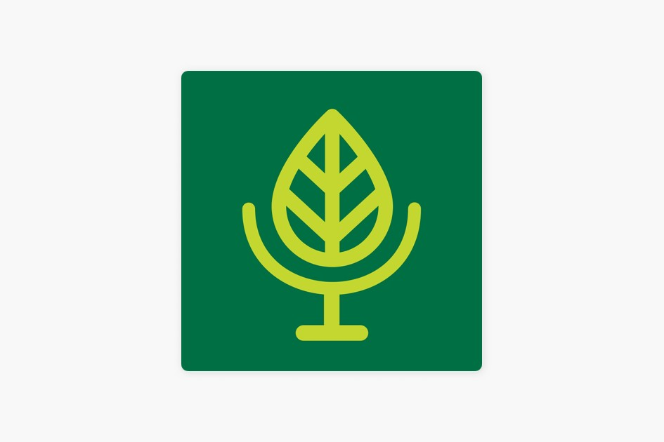 Terra Informa's podcast cover art featuring a stylized green leaf within a square