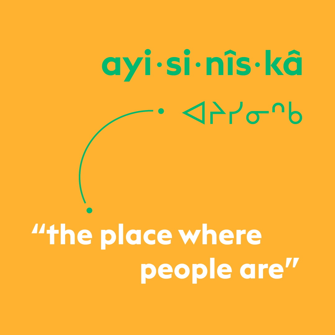 A Cree word — ayisinîskâ — in green type on a yellow background, followed by the same word in Cree syllabics, and the definition in white type: The place where people live