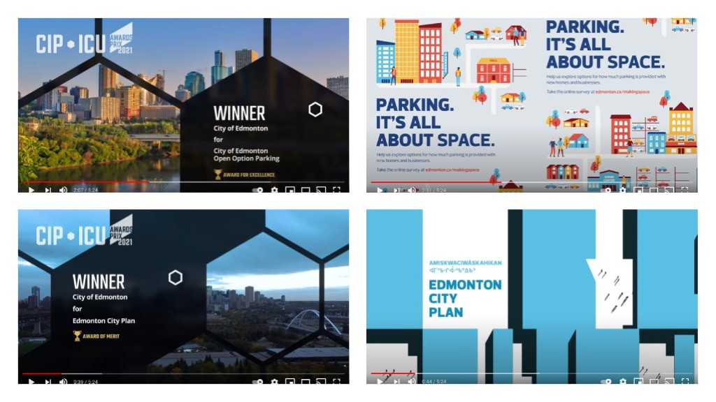 A collage of slides from the Canadian Institute of Planners awards ceremony video on July 15, 2021
