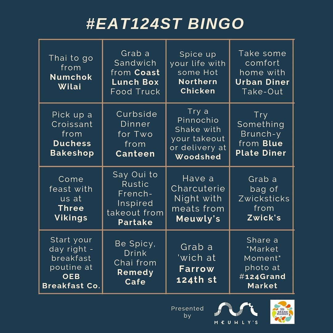#Eat124StBingo card