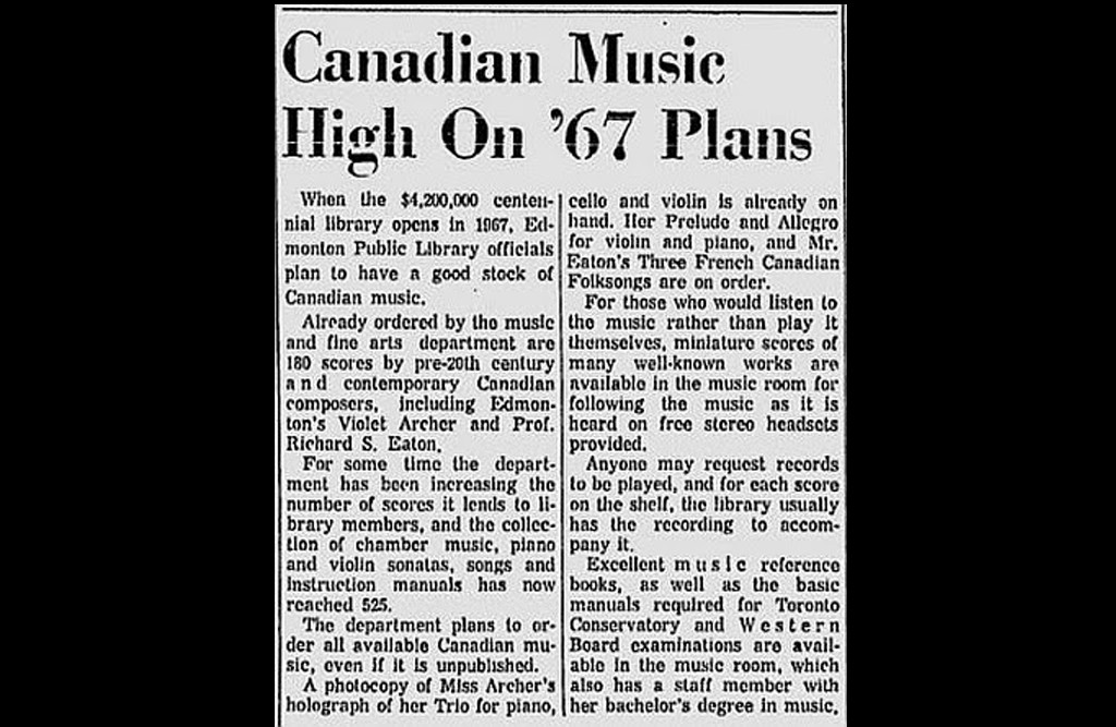 """A newspaper clipping with the headline """"Canadian music high on '67 plans"""""""