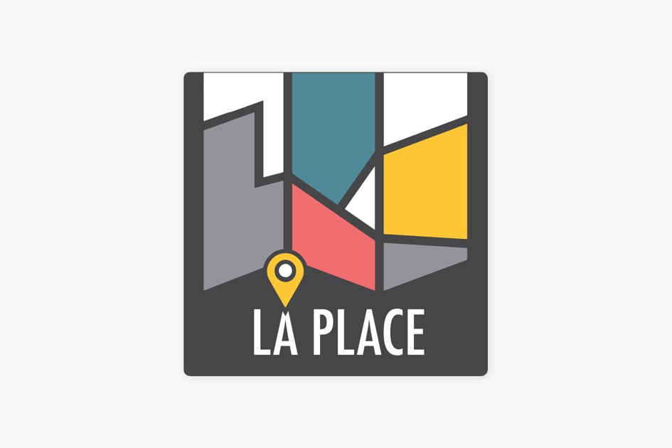 Cover art for La place, a stylized map with a pin