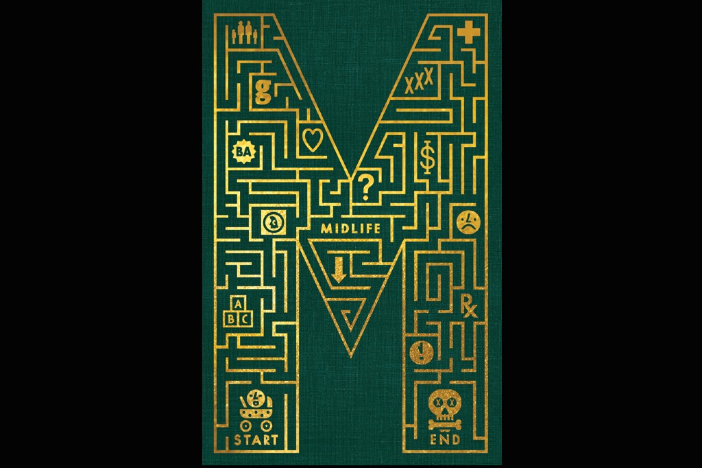 A gold embossed maze on a green, hardcover book, incorporating symbols of the stages of life