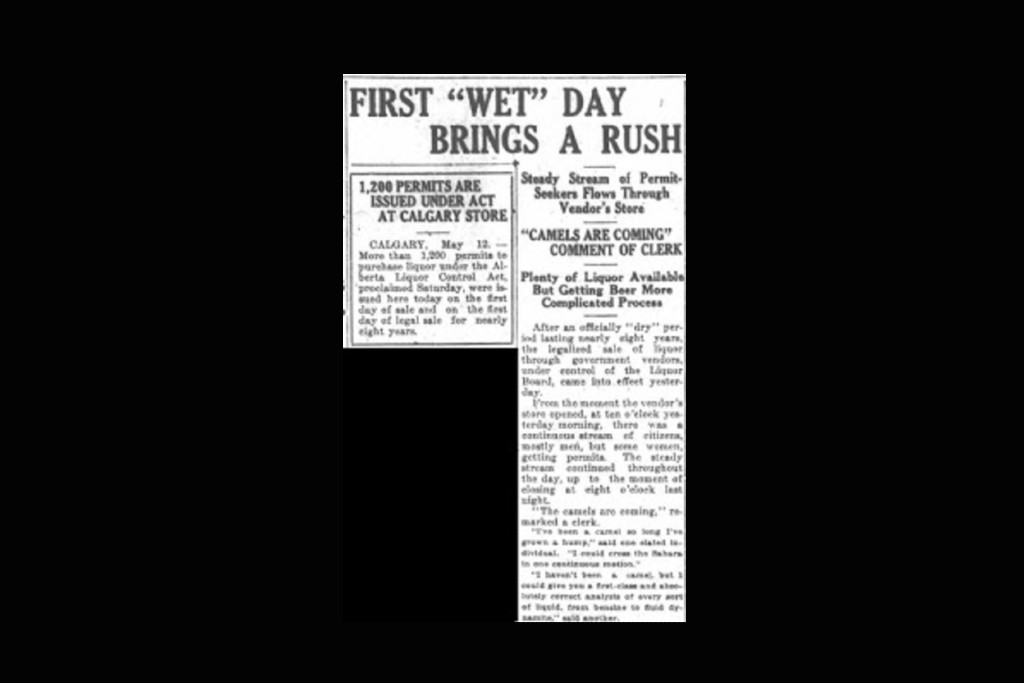 """A newspaper clipping from 1924 with the headline """"First 'wet' day brings a rush: Steady Stream of Permit-Seekers Flows Through Vendor's Store"""""""