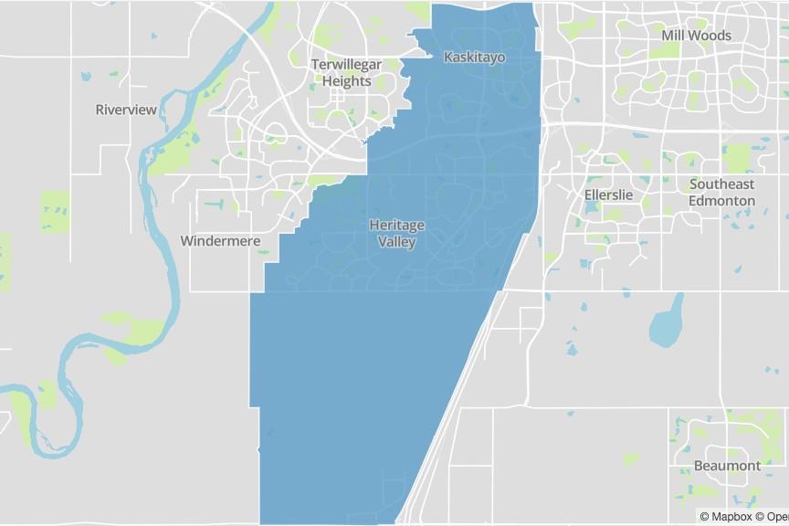 A map of Edmonton ipiihkoohkanipiaohtsi ward.