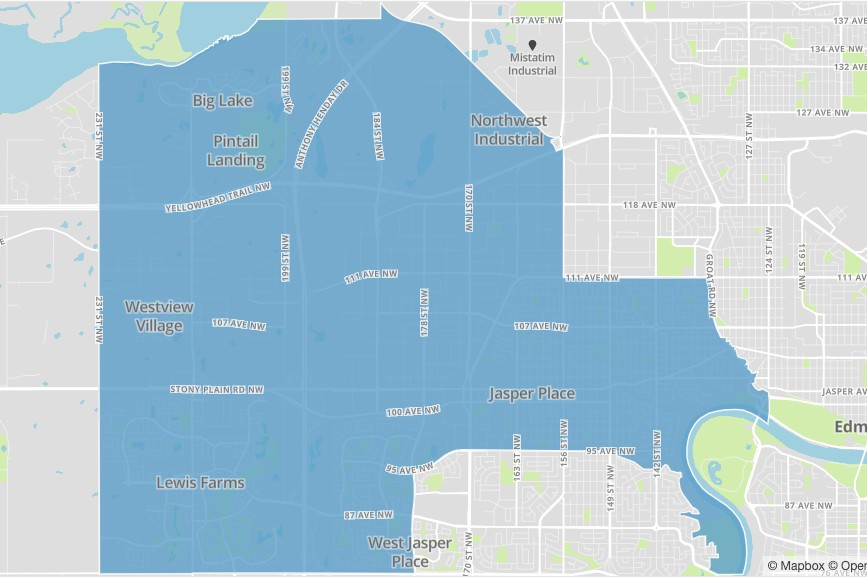A map of Edmonton's Nakota Isga ward.