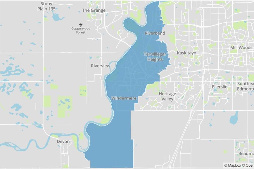 A map of Edmonton's pihêsiwin ward