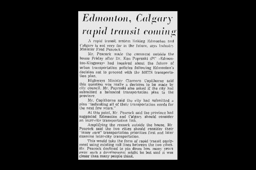 """A newspaper clipping from 1972, headlined """"Edmonton, Calgary rapid transit coming"""""""